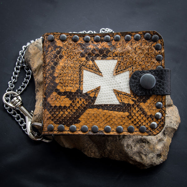 Iron Cross Wallet - Antique African Python - White Cross