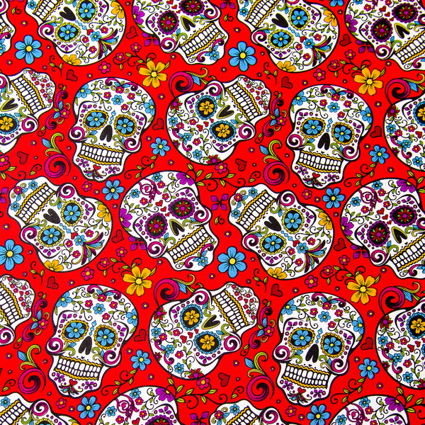 Day of the Dead Sugar Skull Candy Skull Bandana on Red