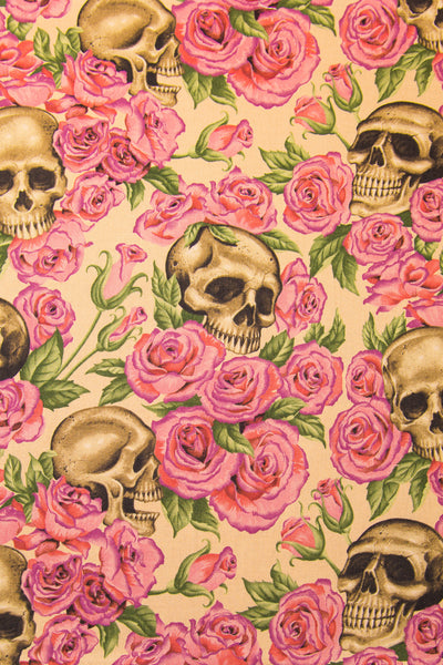 Day of the Dead Resting in Roses Pink Bandana