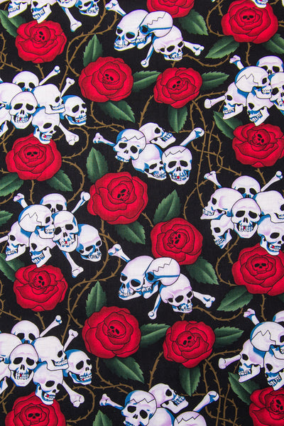 Skulls on Roses and Thorns (Black) Bandana