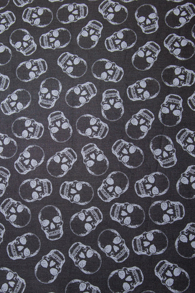 Grey Skulls on Black Bandanna
