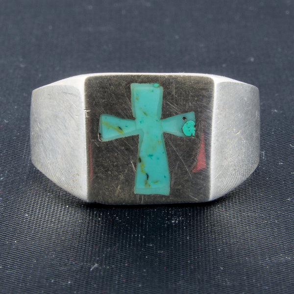 Turquoise Inlay Cross Ring