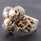 Hear No Evil, See No Evil, Speak No Evil Silver Skull Ring
