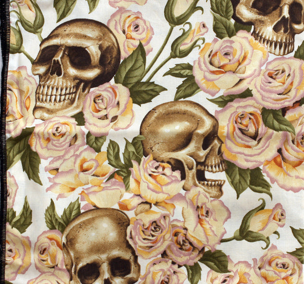 Day of the Dead Resting in Roses Cream Bandana