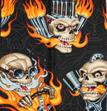 Day of the Dead Flaming Engine Skulls Bandana