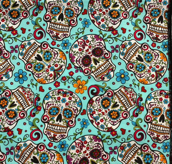 Day of the Dead 'Sugar Skulls' Bandana on Turquoise, Headscarf, Headband
