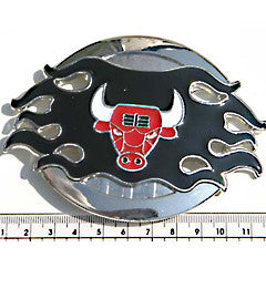 Red Bullshead in Flames Fashion Buckle