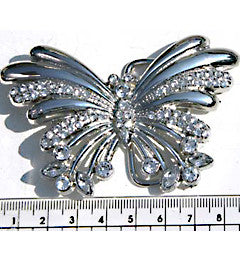 Chrome Finish, Diamante Butterfly Fashion Buckle
