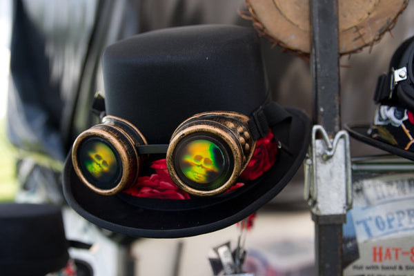 Steampunk Top Hat with Red Rose Band & Skull Kaleidoscope Goggles