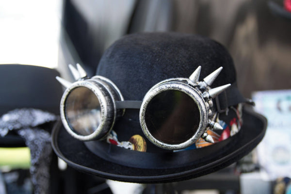 Steampunk Velour Bowler with Hat Band & Spiked Goggles