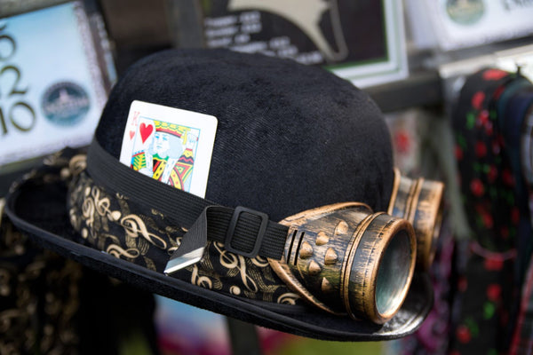 Steampunk Bowler Hat with band, goggles & playing card