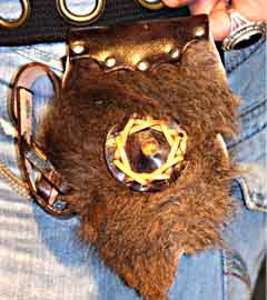 Leather & Cow Hide Fur Utility Side Pouch (Tobacco & Lighter)