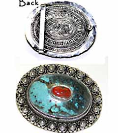 Turquoise & Red Jasper Silver Belt Buckle