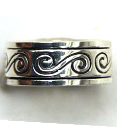 Silver Scroll Spinner Ring