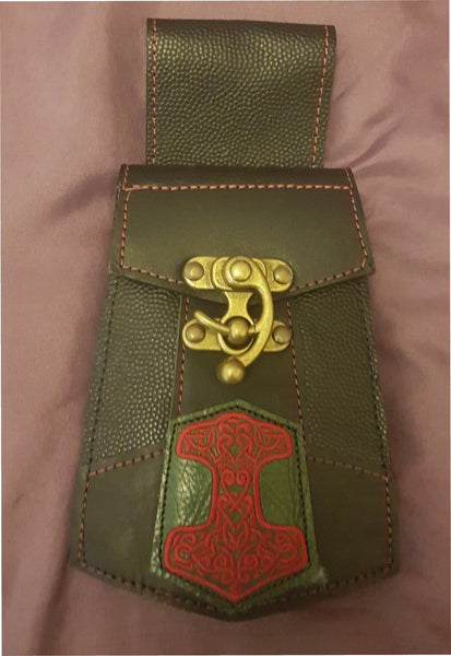Celtic Hammer - Red - Phone Pouch