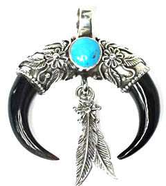 Buffalo Horn Claws and Turquoise Stone Silver Tribal Pendant