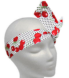 Red Cherries on White Polka Dots Twistband