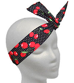 Twistband Red Cherries on Black Polka Dots