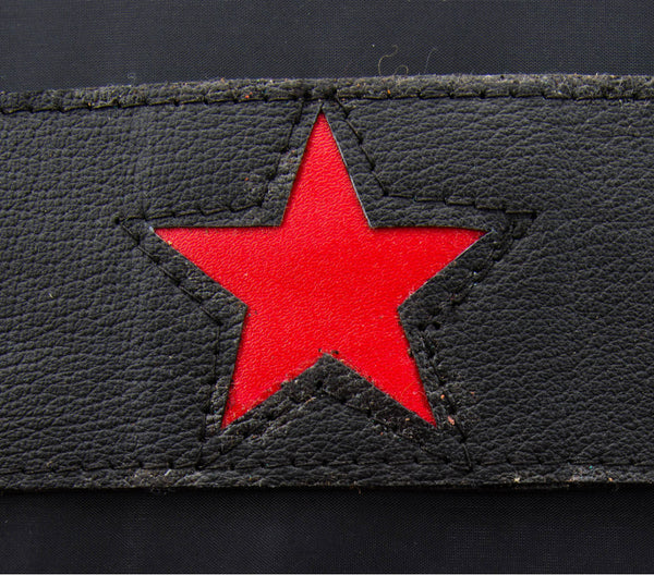 Black leather cuff featuring Red star inlay