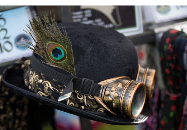 Steampunk Bowler with Hat Band, Goggles & Peacock Feather