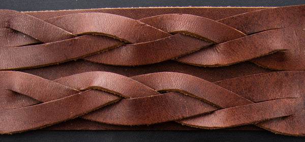 Brown Leather Wrist Cuff with Double Celtic Cable Knot