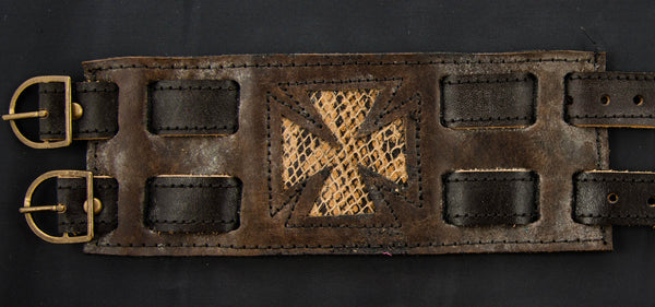 Brown Leather Wrist Cuff with Iron Cross Inlay