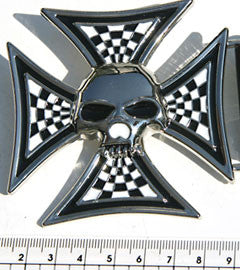 Checkered Iron Cross & Skull Cross Buckle
