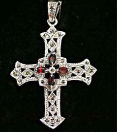 Garnet & Marcasite Encrusted Silver Gothic Cross Pendant