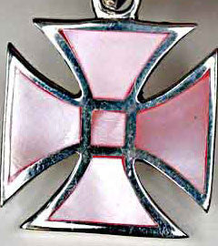 Pink Mother of Pearl Silver Cross Pendant