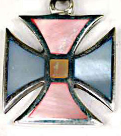 Gorgeous, Pink, Blue & Yellow Mother of Pearl Cross Pendant