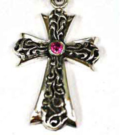 Silver Cross Pendant set with Ruby
