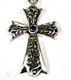 Silver Cross Pendant set with Sapphire
