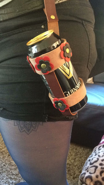 Leather Flowers Beverage (Beer) Holster