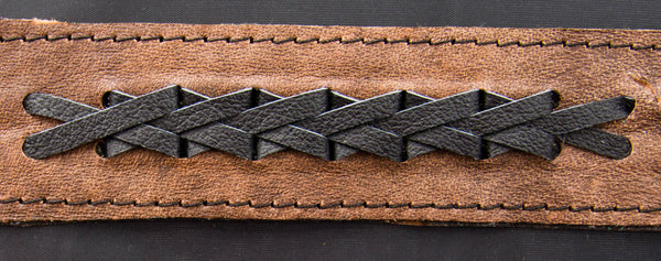 Light Brown Cuff with Single Black Braid