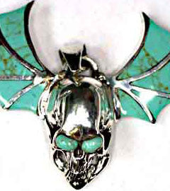 Flying Skull with Turquoise Inlay Skull Pendant
