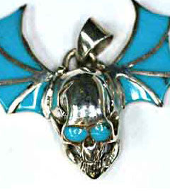 Flying Silver Skull with Dark Turquoise inlay Skull Pendant