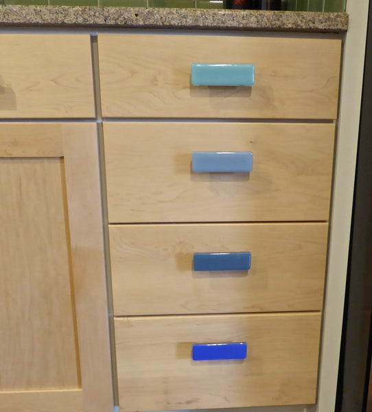 Blue Fused Glass Cabinet or Drawer Pulls-3