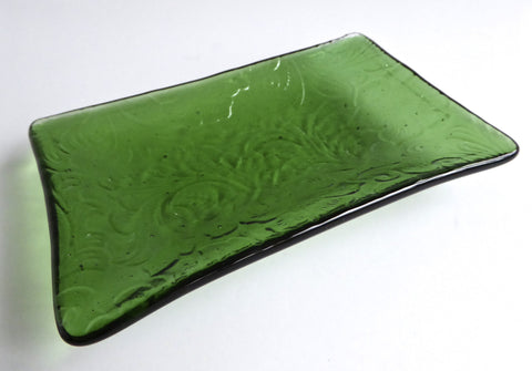 Fused Glass Floral Imprint Dish in Light Green