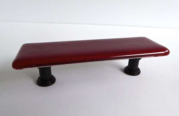 Decorative Fused Glass Cabinet or Drawer Pulls in Red, Black and Grays
