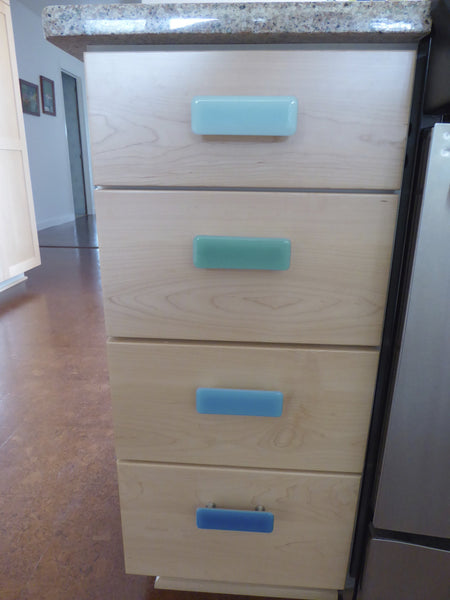 Spa Style Fused Glass Cabinet or Drawer Pulls-4