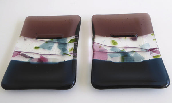 Fused Glass Soap Dish in Dark Aquamarine and Light Violet