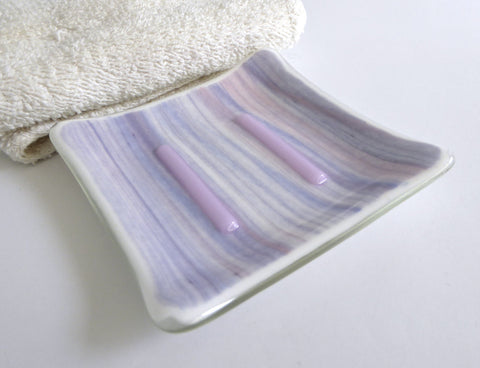 Fused Glass Square Soap Dish in Pink, Blue and White