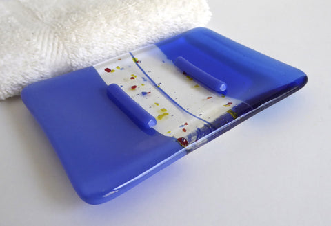 Fused Glass Soap Dish in Cobalt and True Blue