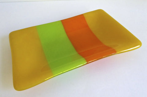 Fused Glass Dish in Yellow Green and Orange