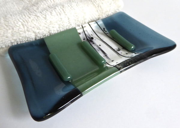 Sea Blue and Mineral Green Fused Glass Soap Dish-1