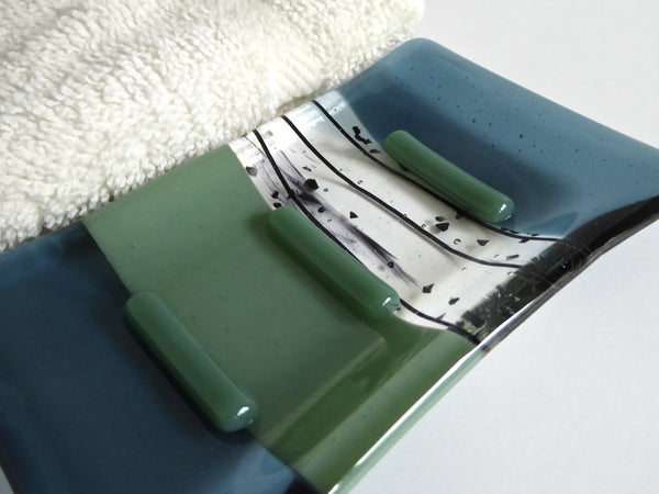 Sea Blue and Mineral Green Fused Glass Soap Dish