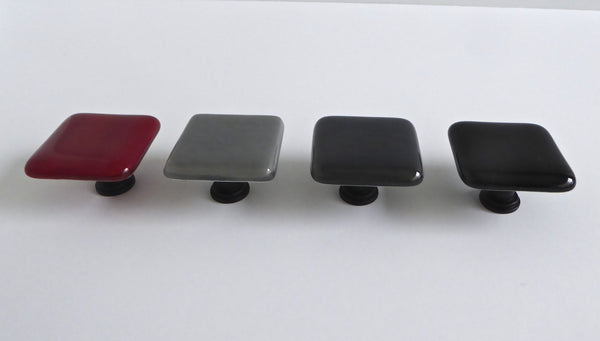 Fused Glass Cabinet Door Knobs in Red, Black and Grays-1