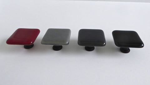 Decorative Fused Glass Cabinet Door Knobs in Red, Black and Grays
