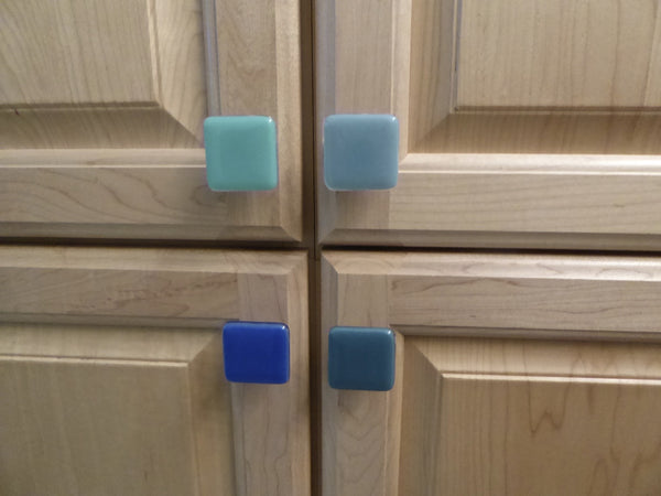 Decorative Blue Fused Glass Cabinet Door Knobs