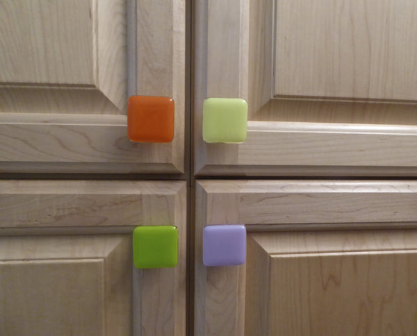 Bright Colors Fused Glass Cabinet Door Knobs